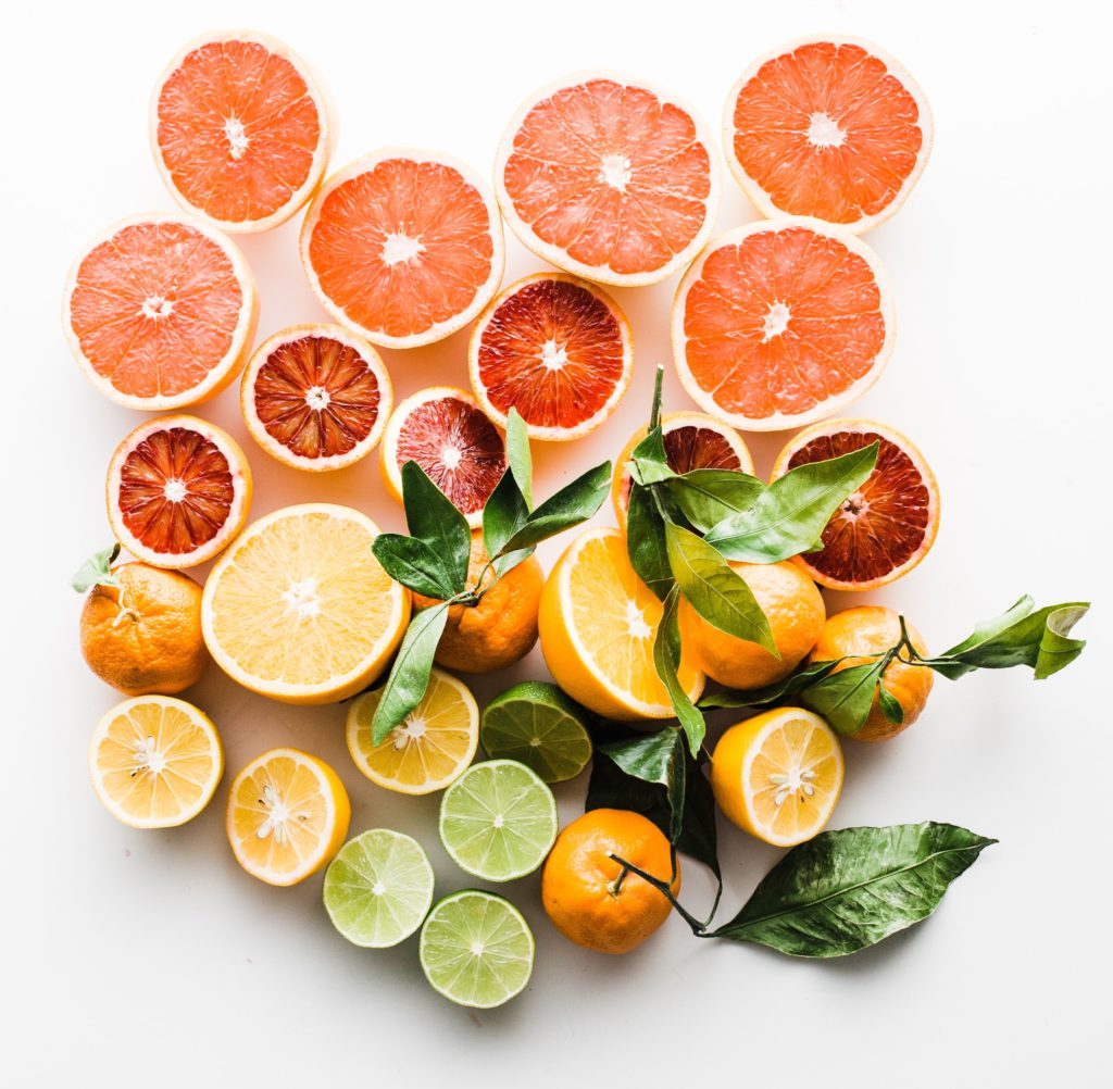 healthy bright and energizing variety of fruit in different sizes and colors